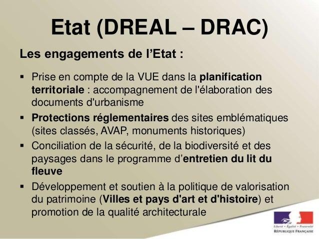 Etat (DREAL – DRAC)  Les engagements de l'Etat :   Prise en compte de la VUE dans la planification  territoriale : accomp...