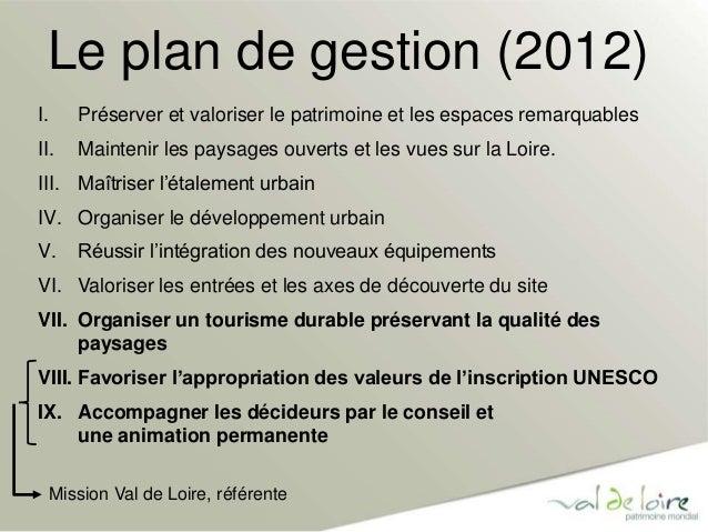 Le plan de gestion (2012)  I. Préserver et valoriser le patrimoine et les espaces remarquables  II. Maintenir les paysages...