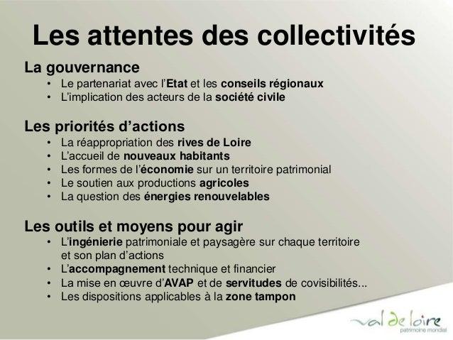 Les attentes des collectivités  La gouvernance  • Le partenariat avec l'Etat et les conseils régionaux  • L'implication de...