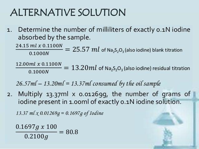determination of ffa and iodine value Ffa (r 4) and iodine value (r 5) the coefficients of determination percentage free fatty acids (ffas) were calculated using.