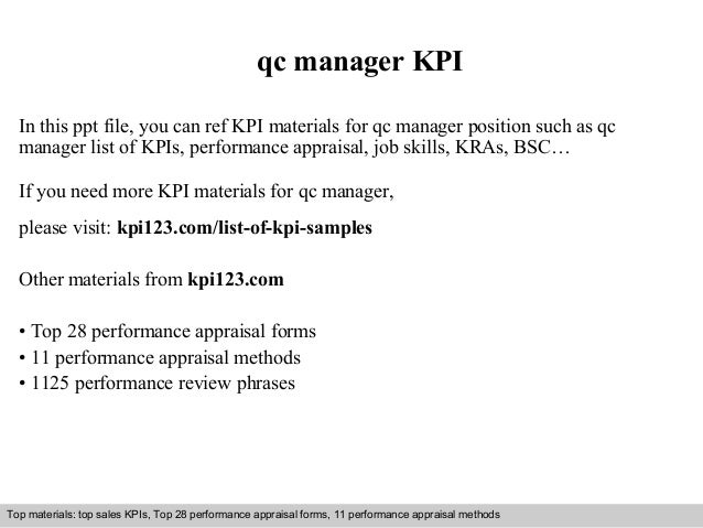 qc manager KPI  In this ppt file, you can ref KPI materials for qc manager position such as qc  manager list of KPIs, perf...