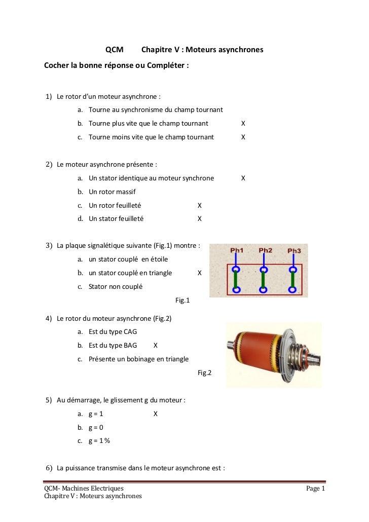 QCM          Chapitre V : Moteurs asynchronesCocher la bonne réponse ou Compléter :1) Le rotor d'un moteur asynchrone :   ...