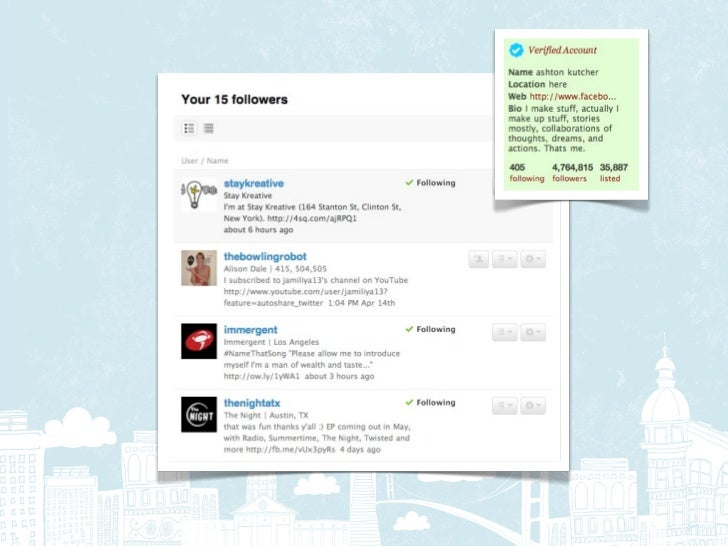 Intersection: Deliver to people who      follow both @aplusk and            @foursquare