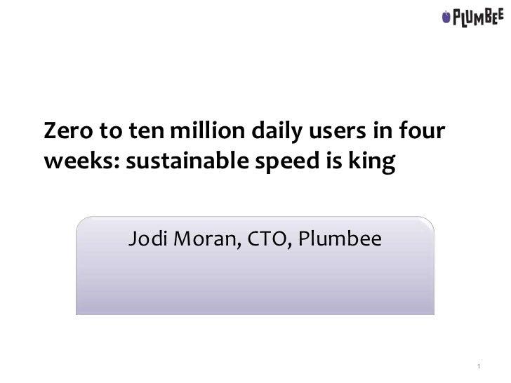 Zero to ten million daily users in fourweeks: sustainable speed is king        Jodi Moran, CTO, Plumbee                   ...