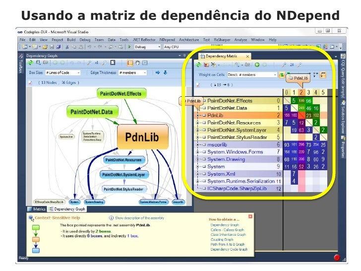 Usando a matriz de dependência do NDepend<br />