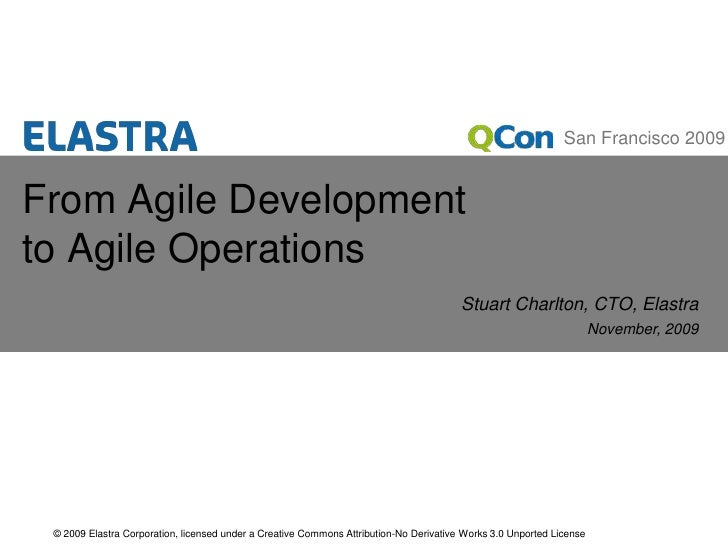 From Agile Development to Agile Operations<br />Stuart Charlton, CTO, Elastra<br />