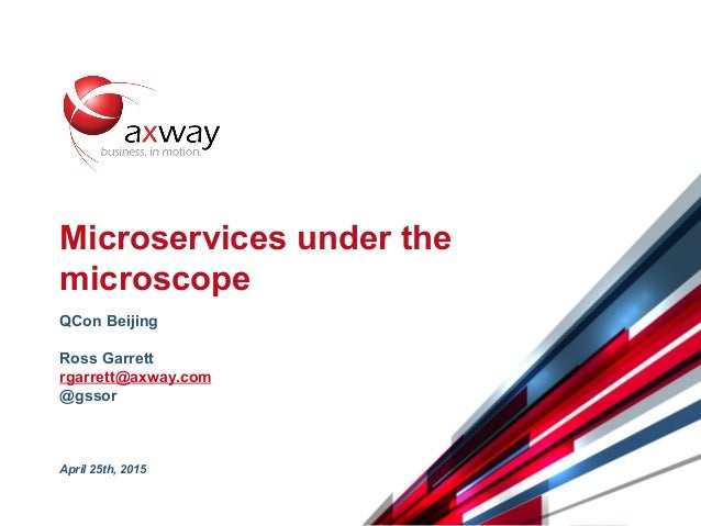 © 2015 Axway | Confidential 1 Microservices under the microscope QCon Beijing Ross Garrett rgarrett@axway.com @gssor April...