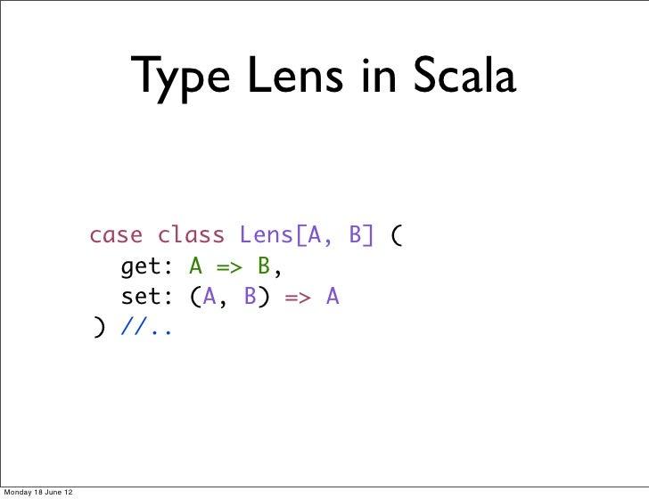 Type Lens in Scala                    case class Lens[A, B] (                      get: A => B,                      set: ...