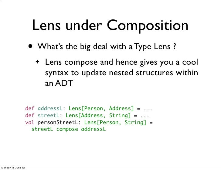 Lens under Composition                    • What's the big deal with a Type Lens ?                       ✦   Lens compose ...