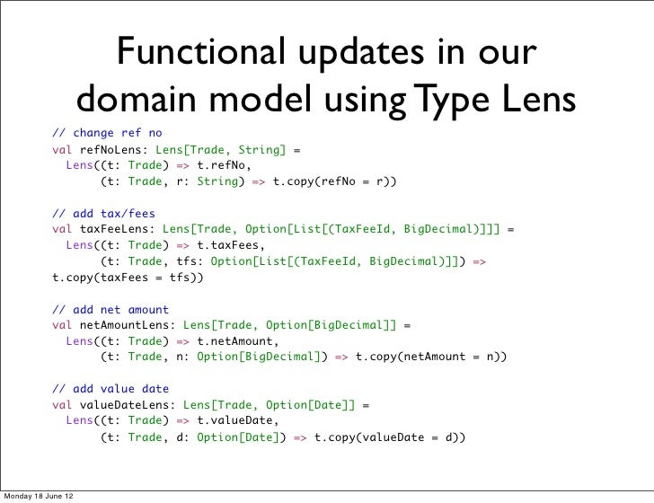 Functional updates in our                    domain model using Type Lens           // change ref no           val refNoLe...