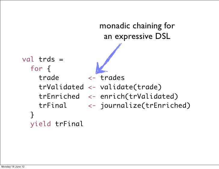 monadic chaining for                                       an expressive DSL               val trds =                 for ...