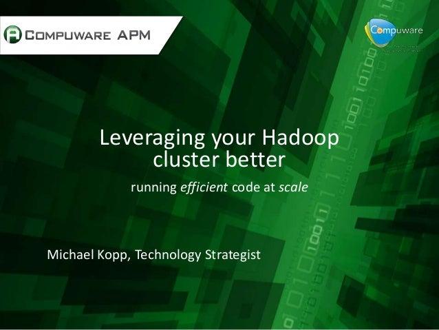 Leveraging your Hadoopcluster betterrunning efficient code at scaleMichael Kopp, Technology Strategist