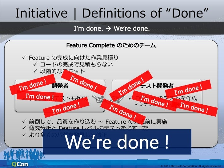 """Initiative   Definitions of """"Done""""                      We're done.  Feature の完成に向けた作業見積りFeature ごとの     コードの完成で見積もらない  ..."""