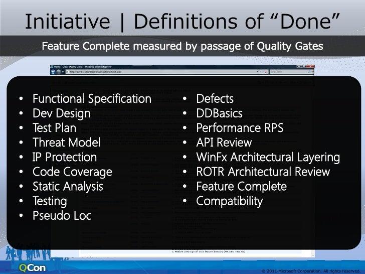 """Initiative   Definitions of """"Done""""                  自動テストによる                  コードのカバレッジ率が                  70 %           ..."""