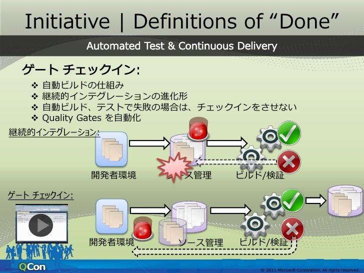 "Initiative   Definitions of ""Done"" 開発者による単体テスト実行や自動ビルド時のテスト実行を記録 ソースコード/テストコードの変更時に、検討すべきコードを自動検出     開発者環境   ソース管理   ビル..."