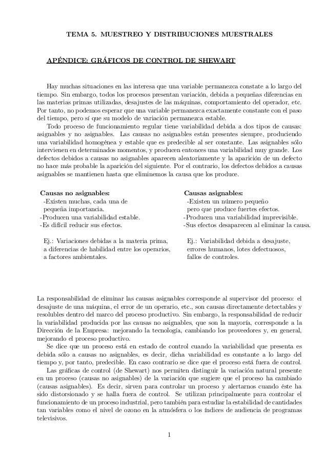 TEMA 5. MUESTREO Y DISTRIBUCIONES MUESTRALES APÉNDICE: GRÁFICOS DE CONTROL DE SHEWART Hay muchas situaciones en las intere...