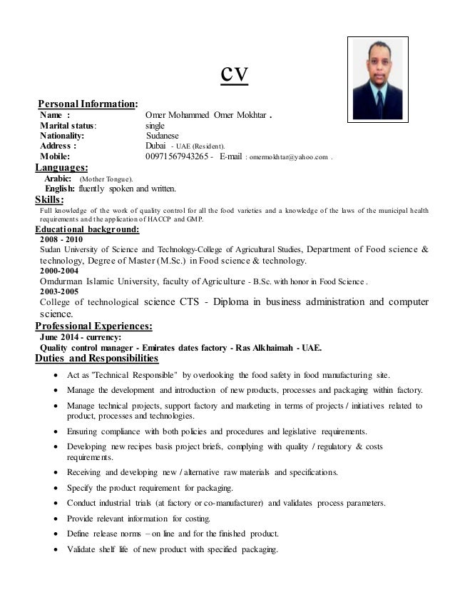 ... HSE, QHSE U0026 Hygiene Officer CV. Cv Personal Information: Name : Omer  Mohammed Omer Mokhtar . Marital Status: Single Nationality ...