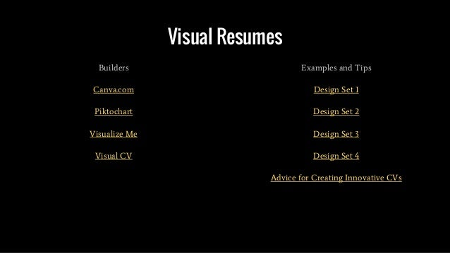 Visual Resumes Builders Canva.com Piktochart Visualize Me Visual CV Examples and Tips Design Set 1 Design Set 2 Design Set...