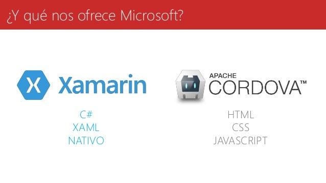¿Y qué nos ofrece Microsoft? C# XAML NATIVO HTML CSS JAVASCRIPT