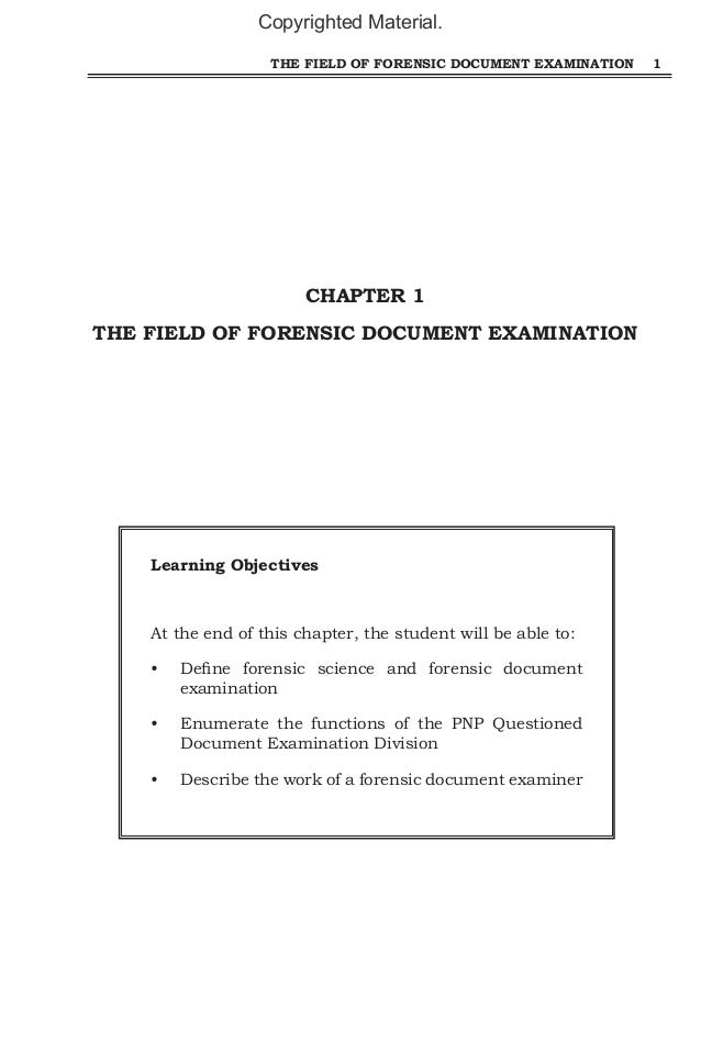 what is a questioned document Definition of questioned document examination: forensic phrase used to refer  documents that are potentially disputed in a court of law the primary purpose is .