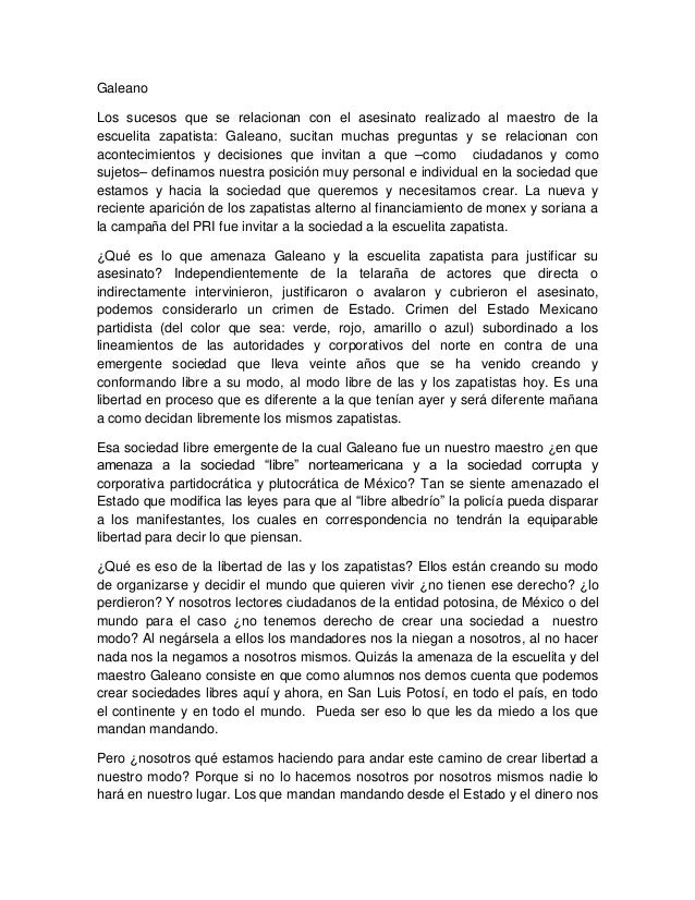 Galeano Los sucesos que se relacionan con el asesinato realizado al maestro de la escuelita zapatista: Galeano, sucitan mu...