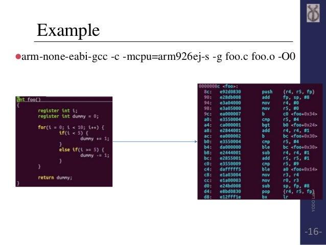 Example  arm-none-eabi-gcc -c -mcpu=arm926ej-s -g foo.c foo.o -O0  YODO Lab  -16-