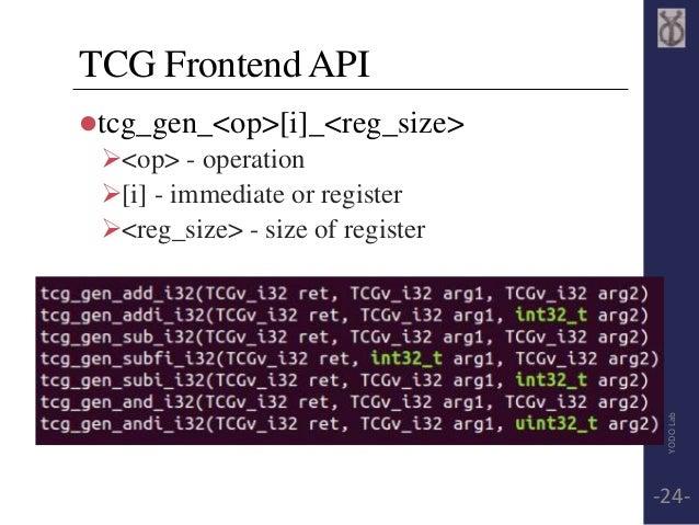 TCG Frontend API  tcg_gen_<op>[i]_<reg_size>  <op> - operation  [i] - immediate or register  <reg_size> - size of regi...