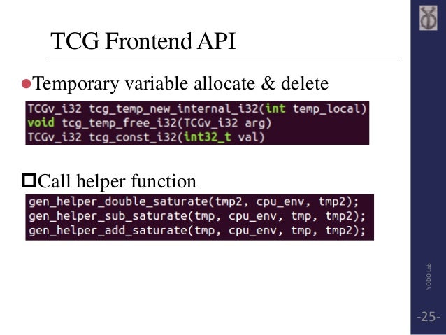 TCG Frontend API  Temporary variable allocate & delete  Call helper function  YODO Lab  -25-