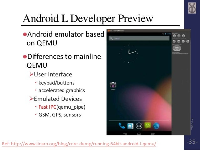 Android L Developer Preview  Android emulator based  on QEMU  Differences to mainline  QEMU  User Interface   keypad/b...