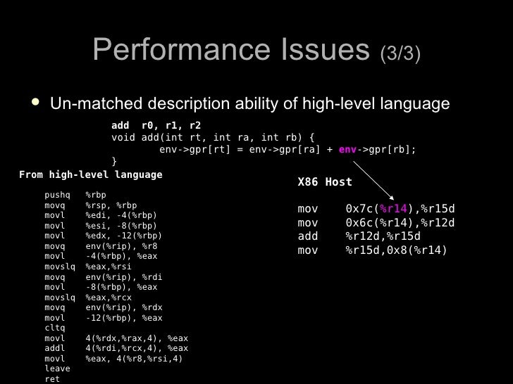 Performance Issues (3/3)      Un-matched description ability of high-level language                add r0, r1, r2        ...