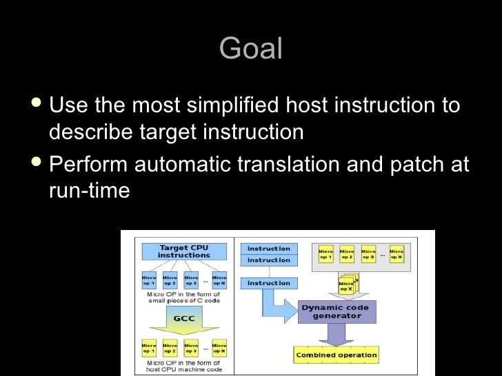 Goal  Use  the most simplified host instruction to   describe target instruction  Perform automatic translation and patc...