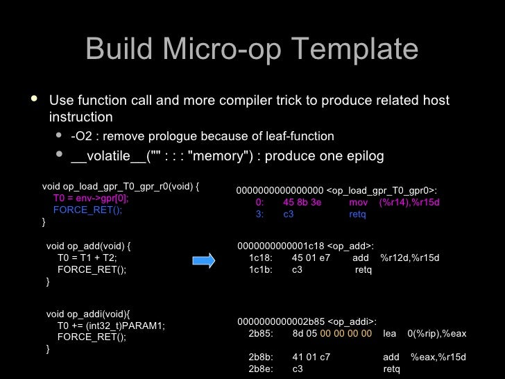 Build Micro-op Template     Use function call and more compiler trick to produce related host      instruction          ...