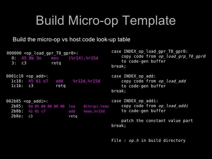 Build Micro-op Template   Build the micro-op vs host code look-up table  000000 <op_load_gpr_T0_gpr0>:                 cas...