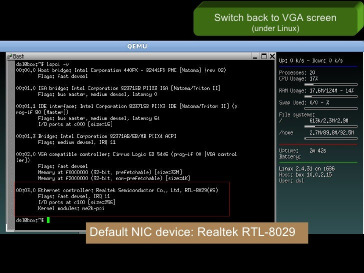 Switch back to VGA screen                             (under Linux)     Default NIC device: Realtek RTL-8029