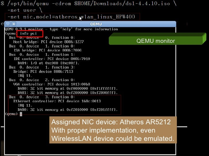 QEMU monitor     Assigned NIC device: Atheros AR5212 With proper implementation, even WirelessLAN device could be emulated.