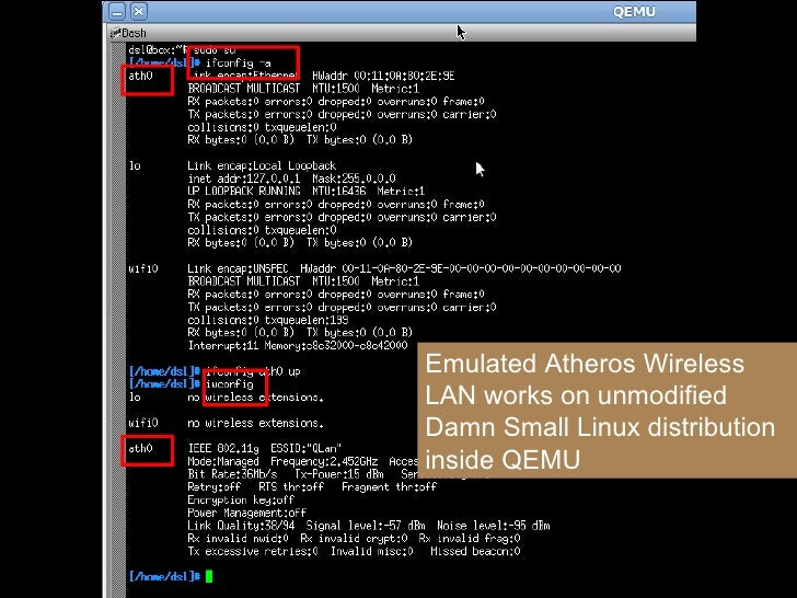 Emulated Atheros Wireless LAN works on unmodified Damn Small Linux distribution inside QEMU