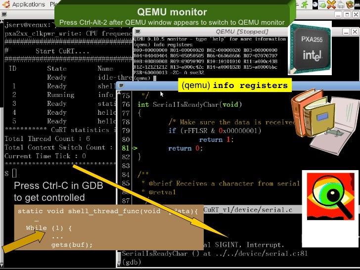 QEMU monitor               Press Ctrl-Alt-2 after QEMU window appears to switch to QEMU monitor                           ...