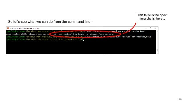 So let's see what we can do from the command line... This tells us the qdev hierarchy is there... 18