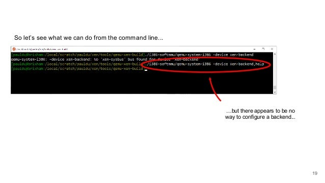 So let's see what we can do from the command line... …but there appears to be no way to configure a backend... 19