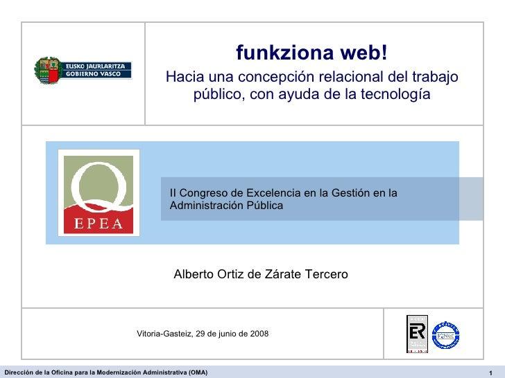 II Congreso de Excelencia en la Gestión en la Administración Pública  Vitoria-Gasteiz, 29 de junio de 2008 funkziona web! ...