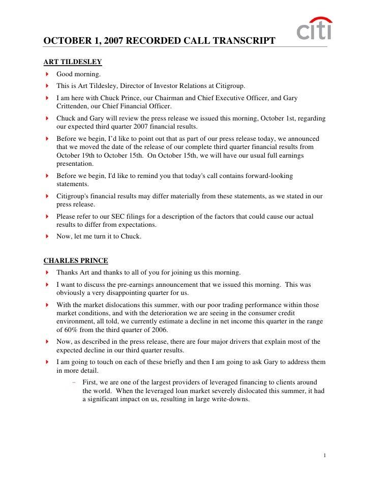 citigroup October 1, 2007 - Pre-Announcement Recorded Call Transcript