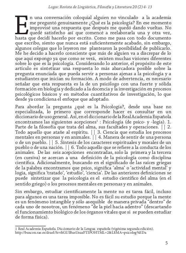 Logos: Revista de Lingüística, Filosofía y Literatura 20 (2) 4- 13 5 E n una conversación coloquial alguien no vinculado a...