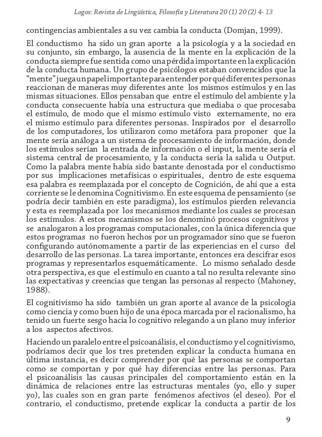 Logos: Revista de Lingüística, Filosofía y Literatura 20 (1) 20 (2) 4- 13 9 contingencias ambientales a su vez cambia la c...