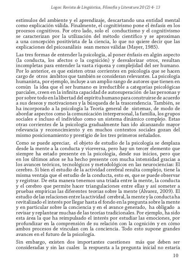 Logos: Revista de Lingüística, Filosofía y Literatura 20 (2) 4- 13 10 estímulos del ambiente y el aprendizaje, descartando...
