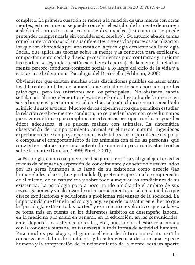 Logos: Revista de Lingüística, Filosofía y Literatura 20 (1) 20 (2) 4- 13 11 completa. La primera cuestión se refiere a la...