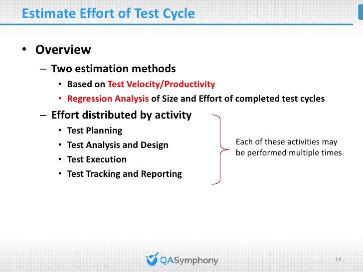 Estimate Effort of Test Cycle (cont'd)• Estimate Effort based on Test Velocity    Effort(person-hour) = Size(TCP) / Test V...