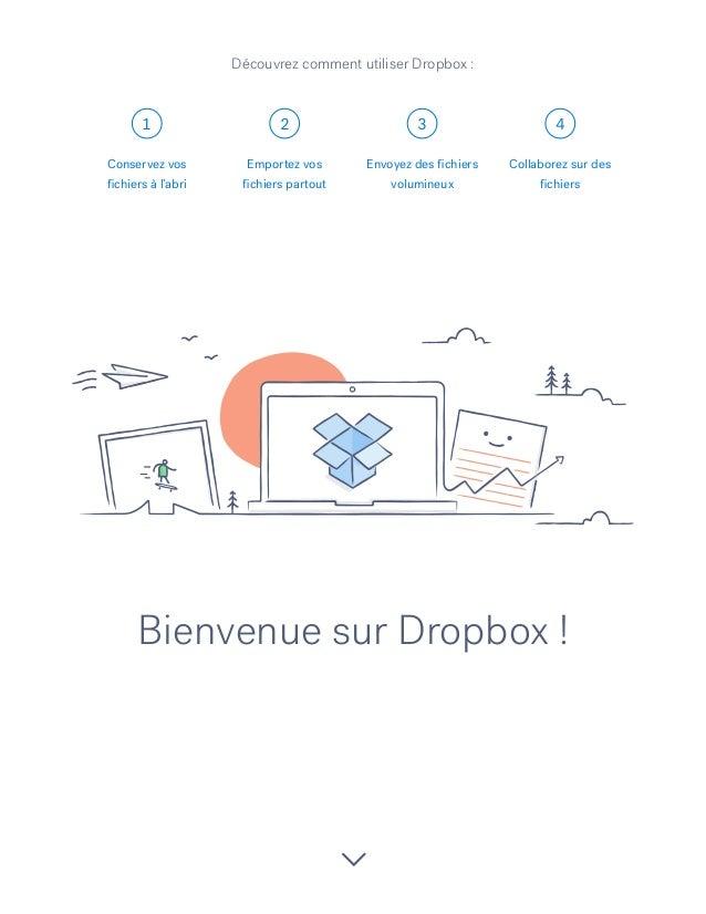 1 2 3 4 Bienvenue sur Dropbox! Conservez vos fichiers à l'abri Emportez vos fichiers partout Envoyez des fichiers volumin...
