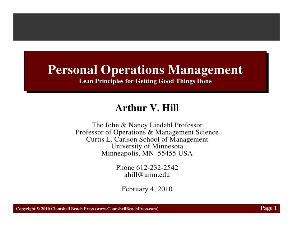Personal Operations Management                Personal Operations Management                               Lean Principles...