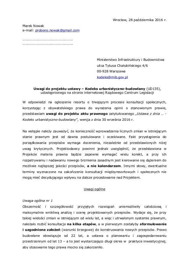 Wrocław, 28 października 2016 r. Marek Nowak e-mail: probono.nowak@gmail.com …………………………………………………. …………………………………………………. Min...