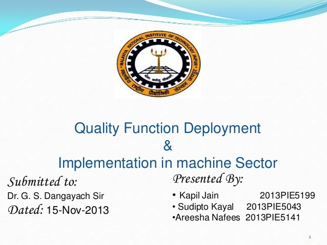 Quality Function Deployment & Implementation in machine Sector Presented By: Submitted to: Dr. G. S. Dangayach Sir  Dated:...